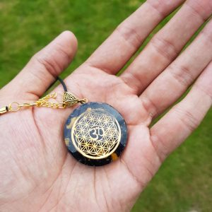 Tiger Tourmaline Flower of Life Orgone Pendant