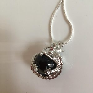 Obsidian Crystal Dragon Necklace