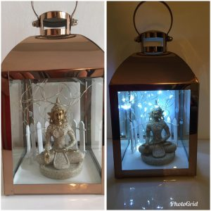 Copper Effect Buddha Lantern